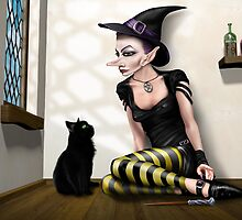 Witch with her familiar by Paul Fleet