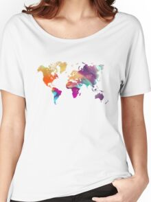 World map watercolor  Women's Relaxed Fit T-Shirt
