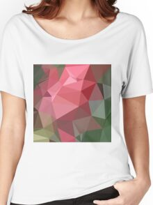 Congo Pink Abstract Low Polygon Background Women's Relaxed Fit T-Shirt