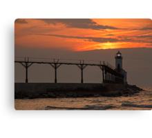 Sunset over the Michigan City Light, Indiana (on Lake Michigan) Canvas Print