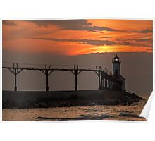 Sunset over the Michigan City Light, Indiana (on Lake Michigan) Poster