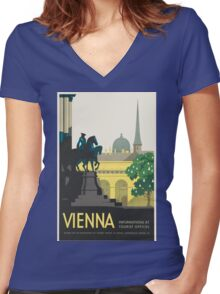 Vintage poster - Vienna Women's Fitted V-Neck T-Shirt