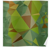 Dark Pastel Green Abstract Low Polygon Background Poster