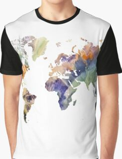 World Map watercolor painting Graphic T-Shirt