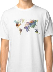 World Map watercolor painting Classic T-Shirt