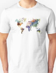 World Map watercolor painting T-Shirt