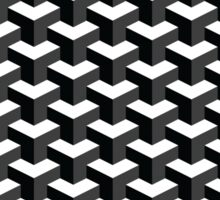 Black and White Cube Pattern 3D Effect Sticker
