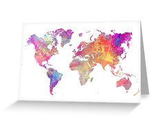 World Map Violet Greeting Card