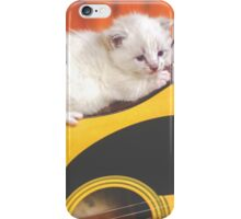 Cute White Guitar Kitty iPhone Case/Skin