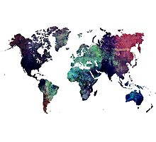 Map world art after Ice age Photographic Print