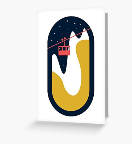 Ski slope cable car Greeting Card