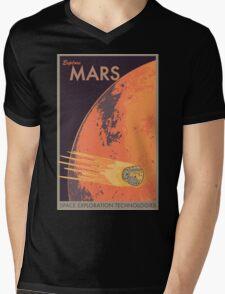 Explore Mars Travel Poster Mens V-Neck T-Shirt