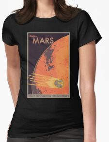 Explore Mars Travel Poster Womens Fitted T-Shirt