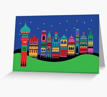 Christmas town with green Greeting Card