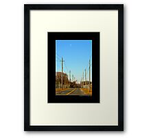 Half Moon Above Reese Avenue In The Morning  - Riverhead, New York  Framed Print