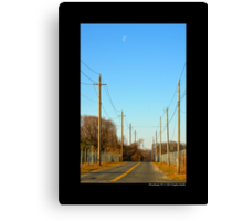 Half Moon Above Reese Avenue In The Morning  - Riverhead, New York  Canvas Print