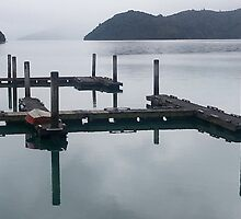 Jetty in the Marlborough Sounds by trevallyphotos