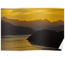Sunset hills and water reflection, Marlborough Sounds Poster