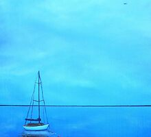 """Reflecting at the Moorings"" (Image of an Oil Painting) by LBMcNicoll"