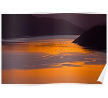 Sunset and reflection in Marlborough Sounds Poster