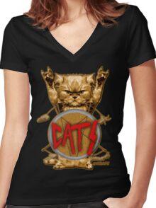 slayer cat Women's Fitted V-Neck T-Shirt