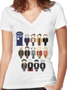 Pixel Doctor Who Regenerations Women's Fitted V-Neck T-Shirt