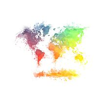 World Map splash 4 Photographic Print