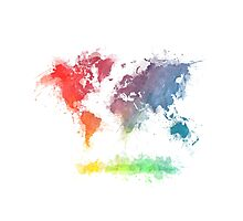 World Map splash 3 Photographic Print