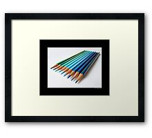 Caran D'Ache Colored Pencils In Different Shades Of Blue And Green - Swiss Made Framed Print