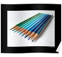 Caran D'Ache Colored Pencils In Different Shades Of Blue And Green - Swiss Made Poster