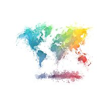 World Map splash 2 Photographic Print