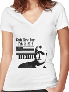 Chris Kyle RIP v2 Women's Fitted V-Neck T-Shirt