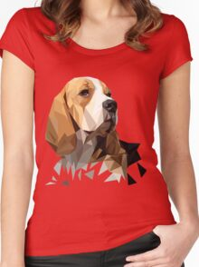 Beagle Hunting Dog Head Women's Fitted Scoop T-Shirt