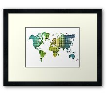 Map of the world green cube Framed Print
