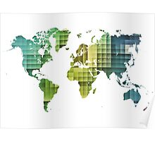 Map of the world green cube Poster
