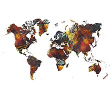 World Map Cube art Photographic Print