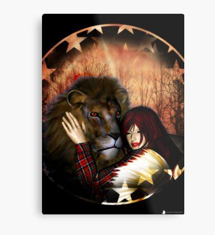 Lion Cuddles Metal Print