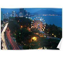 Ferris wheel after dark Poster
