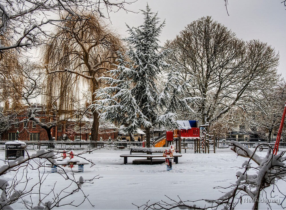 A snowy Playground in Winchester by NeilAlderney