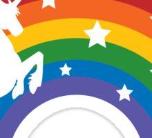 Retro Unicorn and Rainbow Sticker