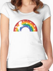 Retro Unicorn and Rainbow Women's Fitted Scoop T-Shirt