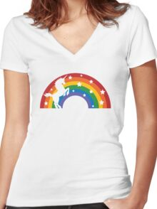 Retro Unicorn and Rainbow Women's Fitted V-Neck T-Shirt