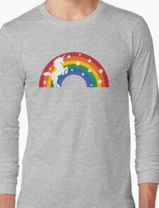 Retro Unicorn and Rainbow Long Sleeve T-Shirt