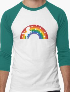 Retro Unicorn and Rainbow Men's Baseball ¾ T-Shirt