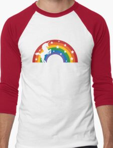 Retro Unicorn and Rainbow Men's Baseball ¾ T-Shirt
