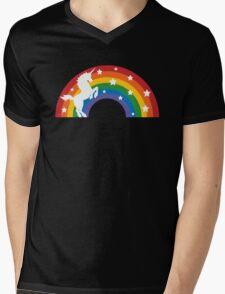 Retro Unicorn and Rainbow Mens V-Neck T-Shirt