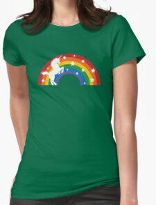 Retro Unicorn and Rainbow Womens Fitted T-Shirt
