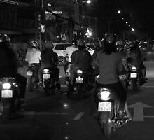 Saigon streets at night by MomoYeuSunny