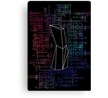 The Obelisk / The Diviner (Black and Multi-Coloured on Black) Canvas Print