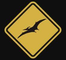 Beware of Pterodactyls Road Sign  One Piece - Short Sleeve